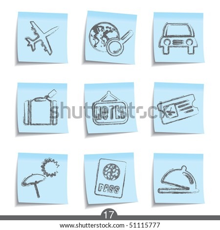 Travel post it icons from series