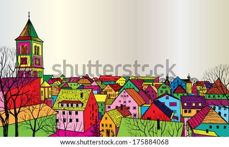 Travel postcard in 1960s pop art style. Pedestrian street in the old European city with tower on the background. Historic city street. Funcky urban scene wallpaper. - stock vector