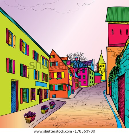 Travel postcard in 1960s pop art style. Pedestrian street in the old european city with tower on the background. Historic city street. Funk urban sceen wallpaper. - stock vector