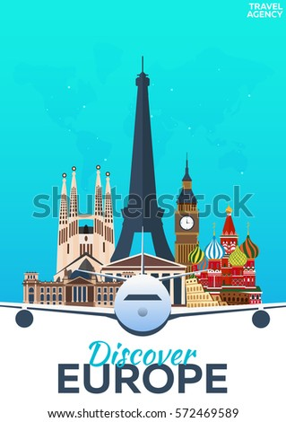 Travel Poster Discover Europe Vacation Trip Stock Vector - Europe trip