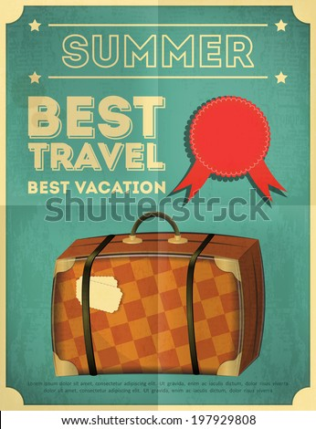 Travel Poster - Vacation Items in Retro Style - Vintage Design. Old Suitcase. Vector Illustrations.  - stock vector