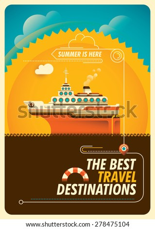 Travel poster with cruise ship. Vector illustration. - stock vector