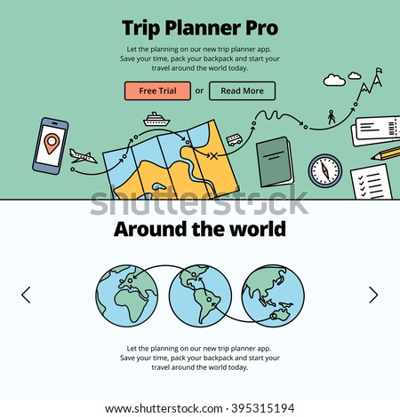 Travel preparation illustration and website banner. Planning a trip around the world with a trip planner application. - stock vector