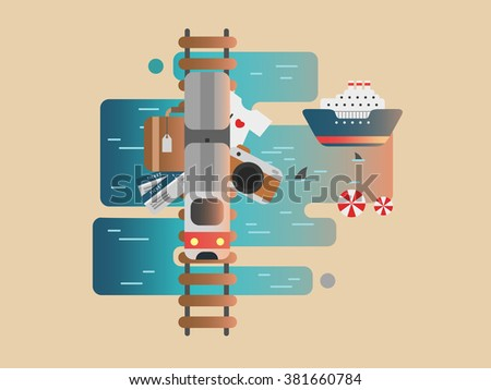 Travel railway and cruise - stock vector