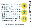 travel recreation icons - stock vector