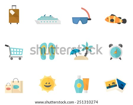 Travel related icons in flat color style - stock vector