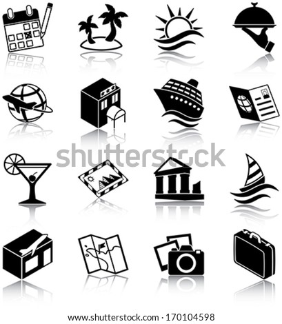 Travel related icons/ silhouettes - stock vector