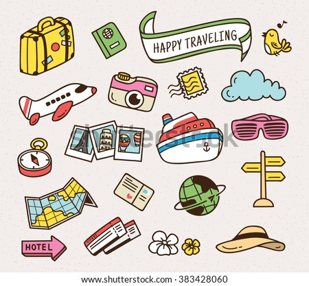 Travel related object in doodle style, Travel vector icon - stock vector