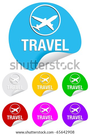 travel, round stickers - stock vector