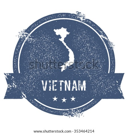 Travel rubber stamp with the name and map of Vietnam, vector illustration. Can be used as insignia, logotype, label or badge vector design element. - stock vector