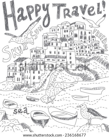 Travel sea city birds black and white Black and white vector illustration