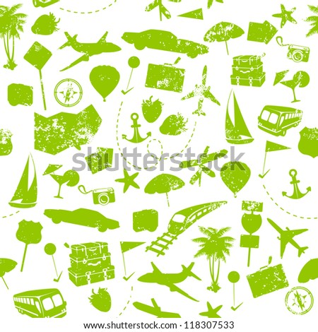 Travel seamless pattern on white background