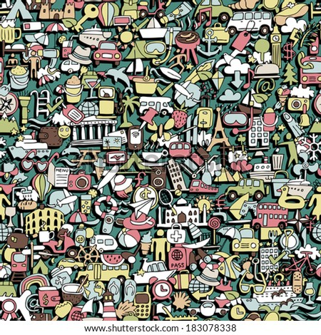 Travel seamless pattern (repeated) with mini doodle drawings (icons). Illustration is in eps8 vector mode. - stock vector
