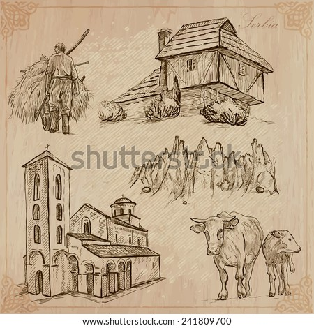 Travel: SERBIA - Collection of an hand drawn vector illustrations. Each drawing comprise three layers of lines, the colored background is isolated. Easy editable in layers and groups. - stock vector