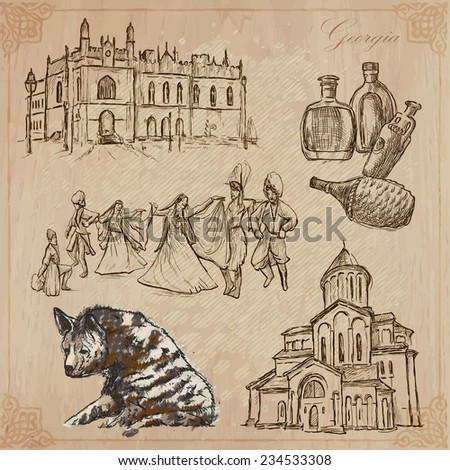 Travel series: GEORGIA (set no.2)  - Collection of an hand drawn vector illustrations. Each drawing comprise three layers of lines, the colored background is isolated. Editable in layers and groups. - stock vector