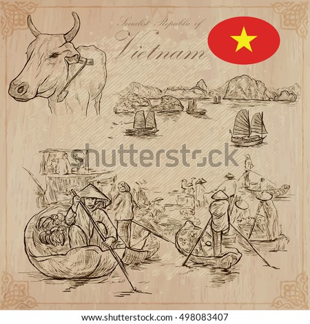 Travel series, VIETNAM. Socialist Republic of Vietnam. Pictures of Life. Vector collection of an hand drawn illustrations, set. Pack of hand drawn illustrations, sketches.