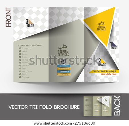 Travel Service Front Tri-Fold Brochure Design.  - stock vector