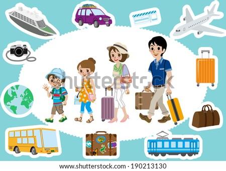 Travel set ,Family - stock vector