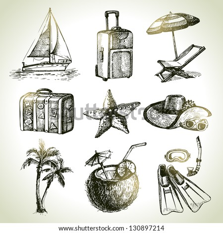 Travel set. Hand drawn illustrations - stock vector