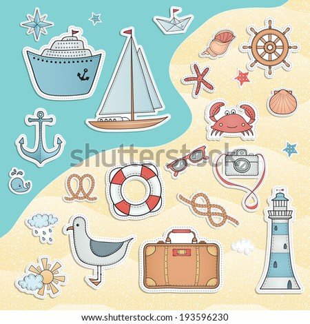 Travel set. Hand drawn summer labels. - stock vector