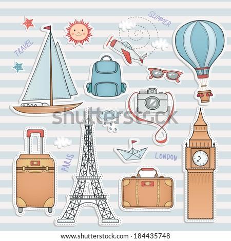 Travel set. Hand drawn summer labels. World famous landmarks. - stock vector
