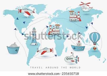 Travel set. Icons collection on the world map. - stock vector