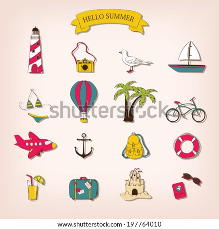 Travel set in cartoon style - stock vector