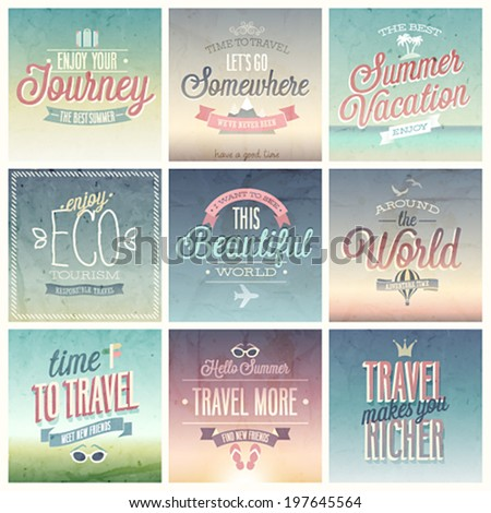 Travel set - labels and emblems. - stock vector