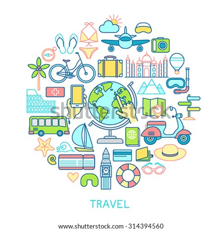 Travel set -line icons. Vector illustration. - stock vector