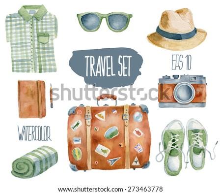 Travel set. Vector watercolor illustration. - stock vector