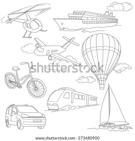 Travel set with car, air-balloons, ships, bike, helicopter, airplane and train - stock vector