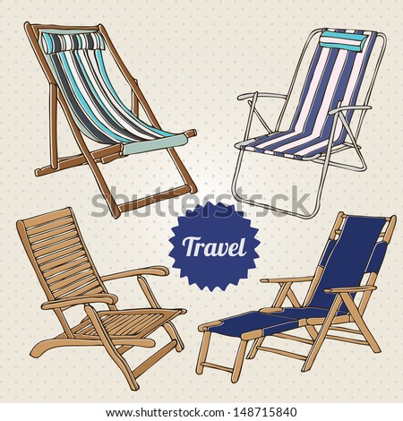 Travel set with hand-drawn beach chairs in retro style - stock vector