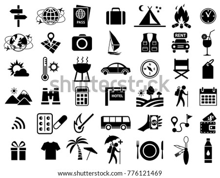 Travel Sign Icon Set Vector Illustration Stock Vector Royalty Free