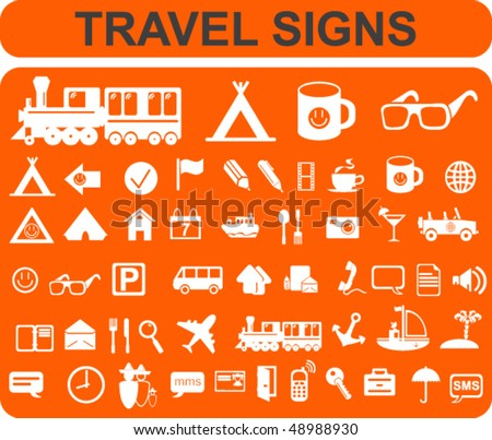 Travel Signs Set - stock vector