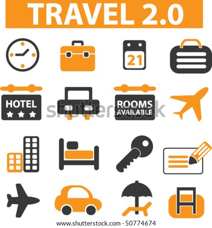 travel 2.0 signs. vector - stock vector