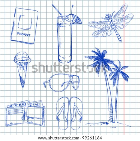 Travel sketch set - stock vector