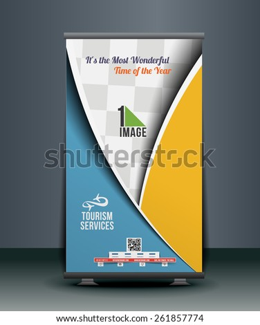 Travel Srvice Roll Up Banner Design - stock vector