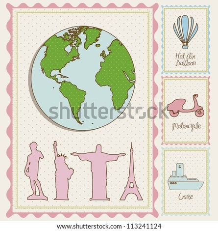 travel stamp illustrations and, and cities around the world,  vector illustration - stock vector