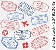 Travel stamps background. Fictitious international airport symbols. - stock vector