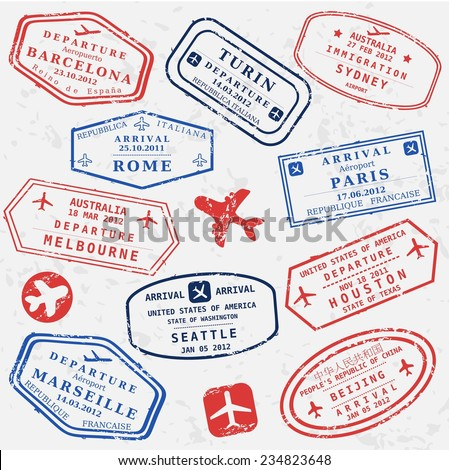 Travel stamps background. Fictitious international airport symbols.