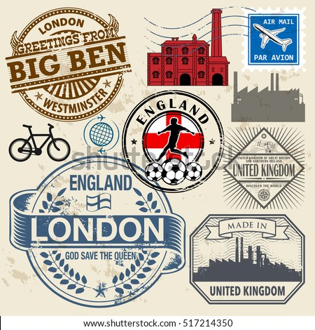 Travel stamps or symbols set, England and United Kingdom theme, vector illustration