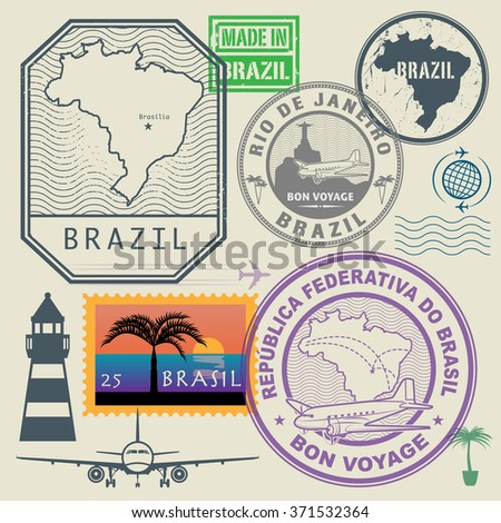Travel stamps set, Brazil, vector illustration - stock vector