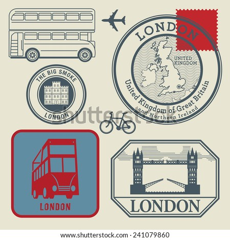 Travel stamps set, London, vector illustration - stock vector