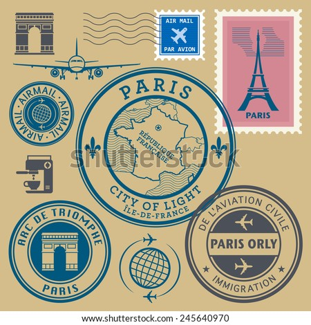 Travel stamps set, Paris theme, vector illustration - stock vector
