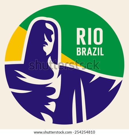 Travel sticker Brazil. Vector illustration. Luggage sticker - stock vector