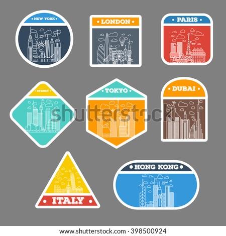 travel sticker city icon set. london, new york, paris, tokyo, sydney, dubai, italy, hong kong. travel suitcase sticker badges. with thin line city icons - stock vector