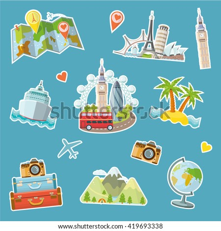 Travel stickers set. Travel and tourism locations.