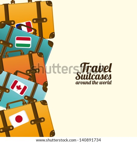 travel suit cases  over white background vector illustration - stock vector