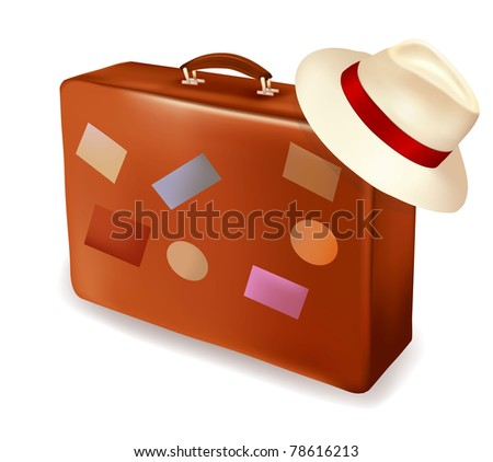 Travel suitcase and a hat. Vector illustration. - stock vector