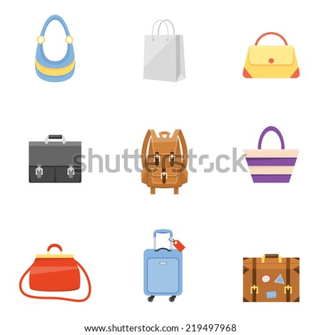 Travel suitcase, business briefcase, shopping bag and backpack icons - stock vector